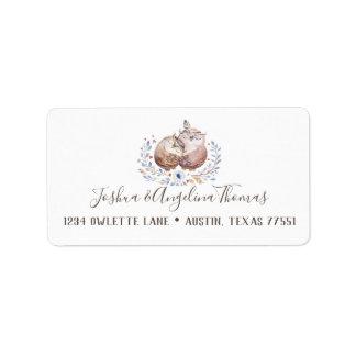 Boho Love Owls Wedding Address Labels
