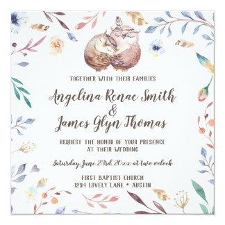 Boho Love Owls Wedding Invitation Floral