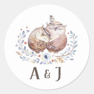 Boho Love Owls Wedding Sticker Floral