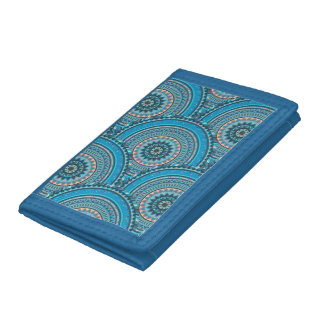 Boho mandala abstract pattern design tri-fold wallets