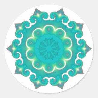 Boho Mandala Turquoise| Bohemian Aqua Geometric Classic Round Sticker