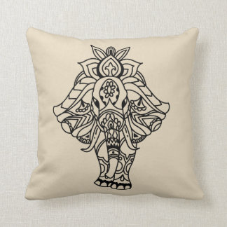 Boho Mandela Elephant Throw Pillow