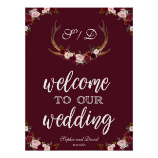 Boho Marsala Burgundy Welcome To Our Wedding Sign