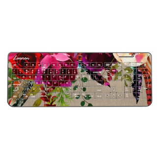Boho marsala floral feathers office decor, name wireless keyboard