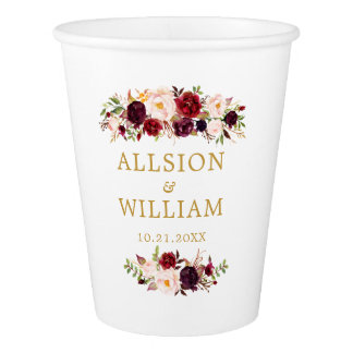 Boho Marsala Gold Wedding Monogram Paper Cup