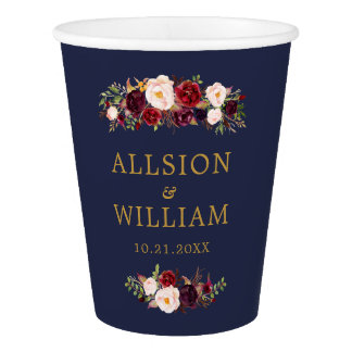 Boho Marsala Navy Wedding Monogram Paper Cup