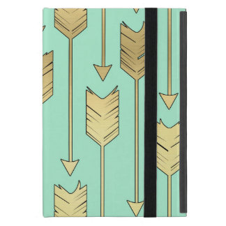 Boho Mint and Faux Gold Arrows Pattern iPad Mini Case