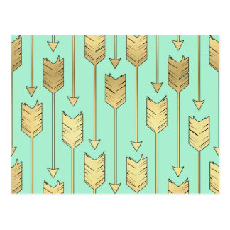 Boho Mint and Faux Gold Arrows Pattern Postcard