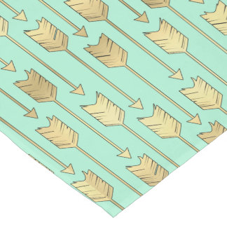 Boho Mint and Faux Gold Arrows Pattern Short Table Runner