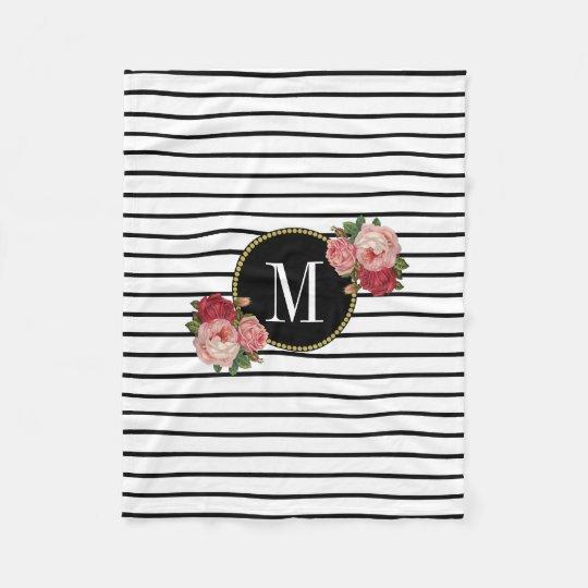Boho Modern Black White Striped Floral Monogram Fleece Blanket