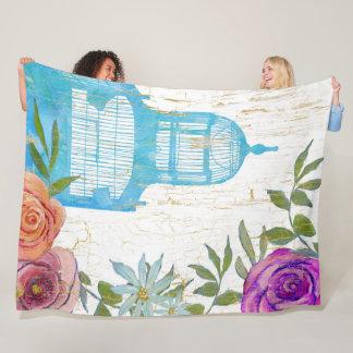 Boho Modern Floral Antique Blue Birdcage Fleece Blanket