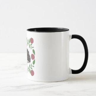 Boho Mug Hedgehog Mug with Wreaths and Roses