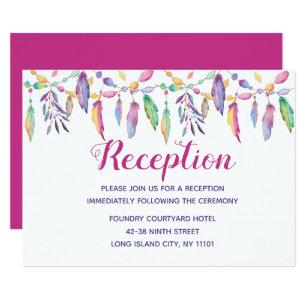 Boho Native American Purple Feather Indian Wedding Invitation