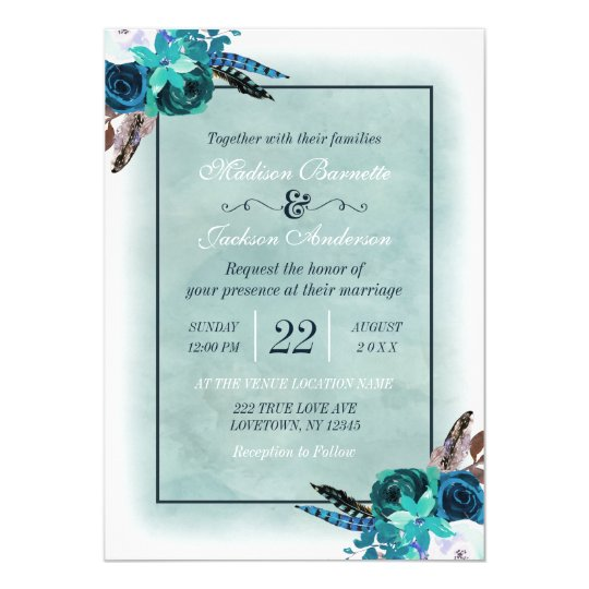 Boho Navy Blue Aqua Watercolor Wedding Invitation