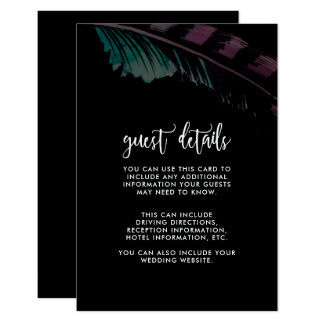 Boho Nights Black with Feather Wedding Detail Card