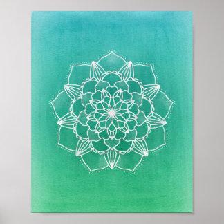 Boho Ombre Mandala Flower in Green Poster
