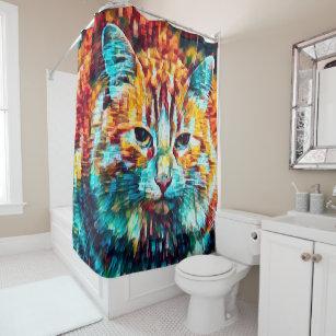 Boho Orange Blue Colourful Hippie Tabby Cat Shower Curtain