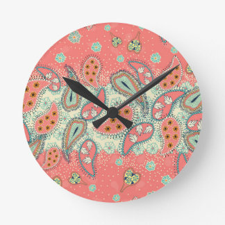 Boho Paisley Border Round Wall Clocks