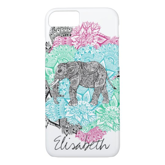Boho paisley elephant handdrawn floral monogram iPhone 8/7