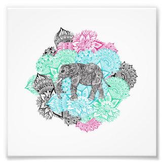 Boho paisley elephant handdrawn pastel floral photo print