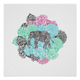 Boho paisley elephant handdrawn pastel floral poster