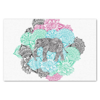 Boho paisley elephant handdrawn pastel floral tissue paper
