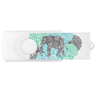 Boho paisley elephant handdrawn pastel floral USB flash drive