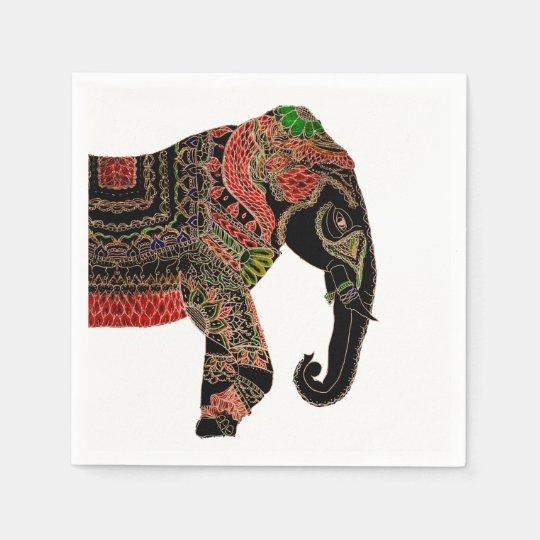 Boho paisley Indian ornate elephant Paper Napkins