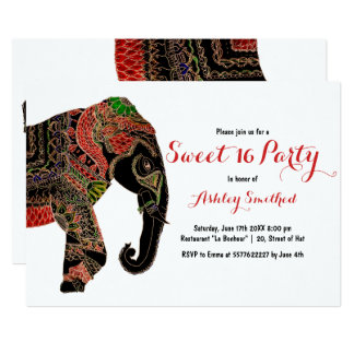 Boho paisley Indian ornate elephant Sweet 16 Card