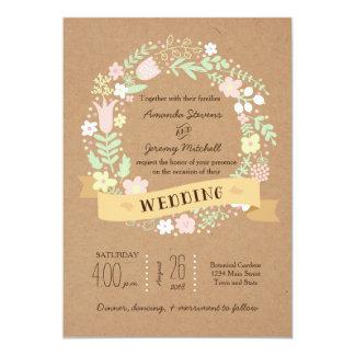 Boho Pastel Floral Wreath Rustic Wedding 13 Cm X 18 Cm Invitation Card