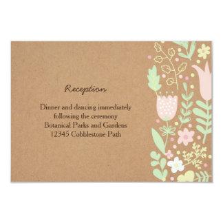Boho Pastel Floral Wreath Rustic Wedding Card