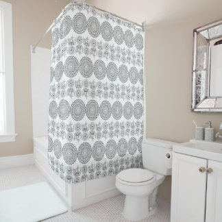boho pattern with flowers and sends them shower curtain