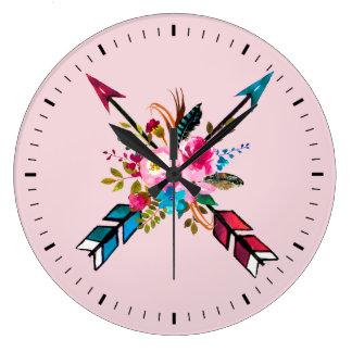 Boho Pink Arrows & Feathers Bouquet Wall Clock