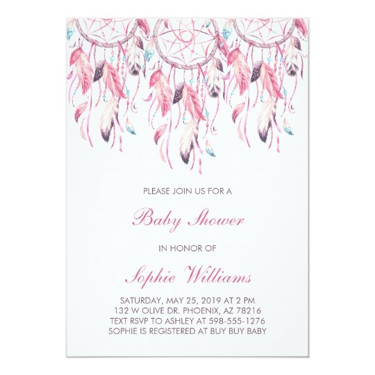 Boho Pink Dreamcatcher Baby Shower Card