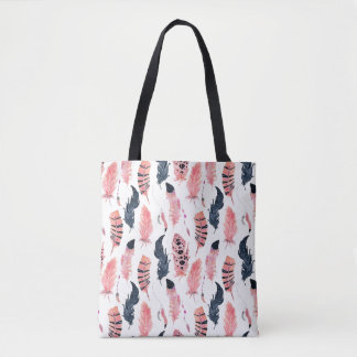 Boho Pink Feathers Tote Bag