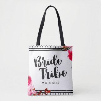 Boho Pink Floral & Black Dots Bride Tribe Tote Bag