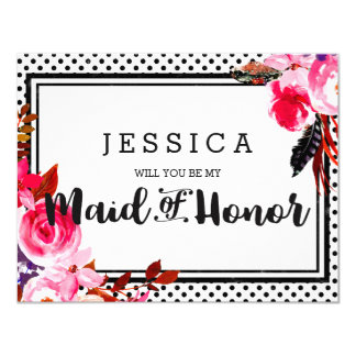 Boho Pink Floral Will You Be My Maid of Honor Card