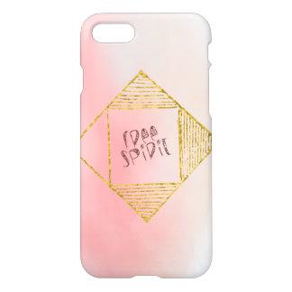 "Boho Pink Ombre Gold Tribal Script ""Free Spirit"" iPhone 7 Case"