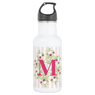 Boho Pink Roses Floral Monogram 532 Ml Water Bottle