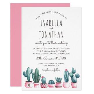 Boho Pink & Turquoise Watercolor Cactus Wedding Card