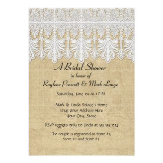 BOHO Printed Burlap n Lace gypsy Modern Mod Style Personalized Announcements
