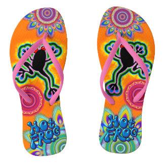 Boho psychedelic hot frog Flip Flops