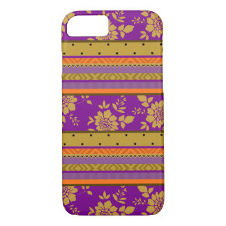Boho Purple Mustard Yellow Orange Floral Pattern iPhone 8/7 Case