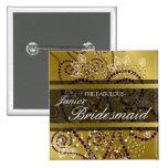 Boho Purple Spirals Gold Wedding Name Tag / Button