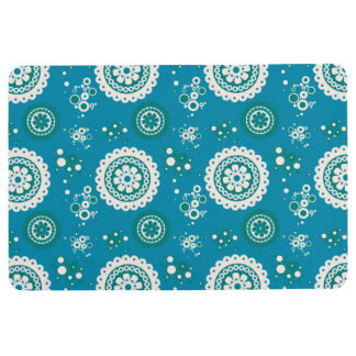 BOHO RETRO CIRCLES, Blue & White Floor Mat