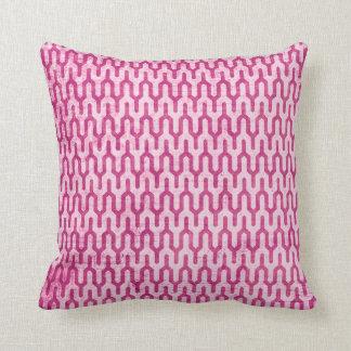 Boho Retro Weave Pattern in Pinks Throw Cushions