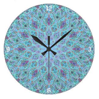 Boho-romantic colored mandala ornament arabesque large clock