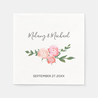 boho  romantic watercolor blooming roses wedding disposable napkin