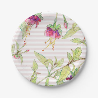 Boho Rose Flowers Garden Party Paper Plates 7 in