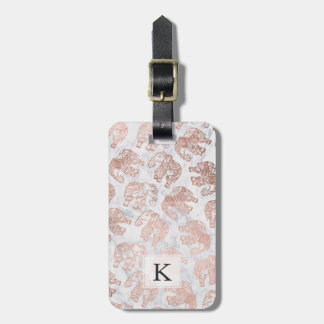 Boho rose gold paisley elephants white marble luggage tag